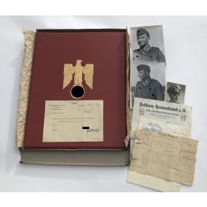Urkunde mit Mappe, Umkarton und Übersendungsschreiben zum Ritterkreuz des Eisernen Kreuzes, Paul Gollbach