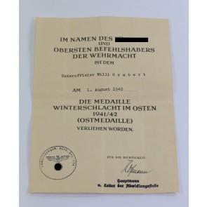 Urkunde Ostmedaille Abwicklungsstelle