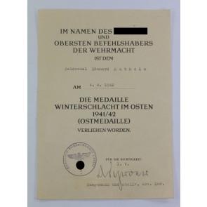Urkunde Ostmedaille, Feldpostnummer (!)
