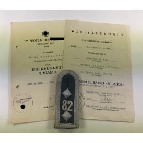 Urkunden Panzernachrichtenabteilung (Afrika)
