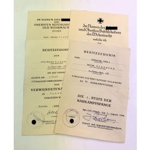 Urkunden Gruppe Grenadier / Nahkampfspange