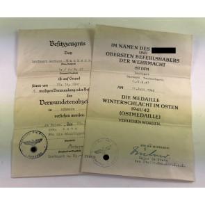 Urkunden Leutnant Wackerbarth