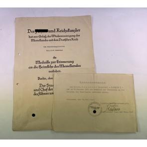 Urkunden Memellandmedaille