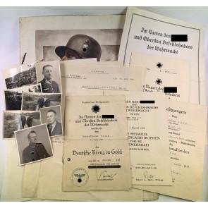 Urkunden Nachlass Deutsches Kreuz in Gold Feldwebel Reimar Ramm