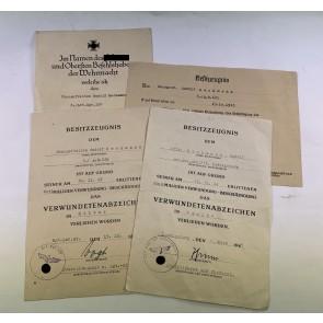 Urkunden Nachlass Verwundetenabzeichen in Gold, Unteroffizier Heckmann