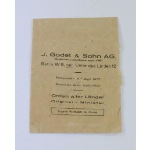 Verkaufstüte J. Godet & Sohn AG Ordens-Juweliere