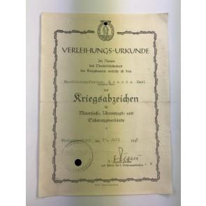 Verleihungs-Urkunde Minsucher