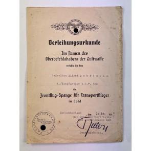 Verleihungsurkunde Frontflugspange für Transportflieger in Gold, Kampfgruppe z.b.V.