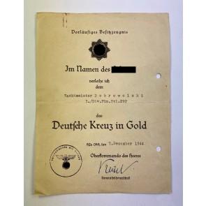Vorläufiges Besitzzeugnis Deutsches Kreuz in Gold, Füsilier