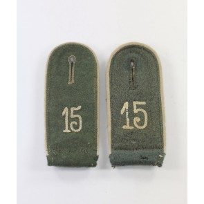 Wehrmacht Heer, Paar Schulterklappen für Mannschaften Infanterie Regiment 15 (Kassel)