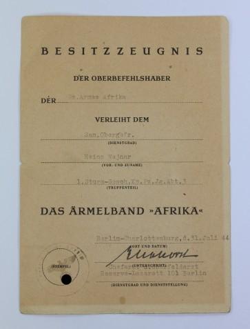 Besitzzeugnis Ärmelband Afrika, Sturmgeschütz - Militaria-Berlin