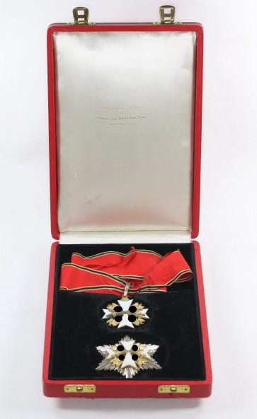 Deutscher Adlerorden, Verdienstkreuz 2. Klasse mit Schwertern, Halskreuz und Bruststern im Verleihungsetui - Militaria-Berlin