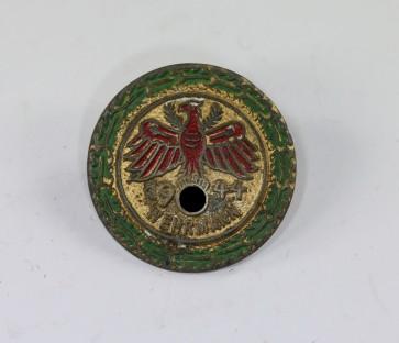 """Standschützen Tirol-Vorarlberg, Gaumeisterabzeichen 1944 in Gold mit Eichenlaubkranz """" Wehrmann """" - Militaria-Berlin"""