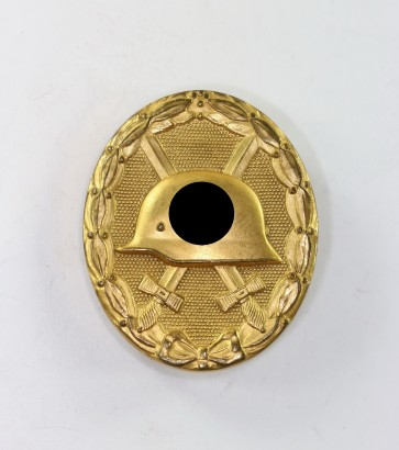 Verwundetenabzeichen in Gold, Hst. 30, breite Nadel (!), SS-Sturmbannführer Schulz-Streeck - Militaria-Berlin