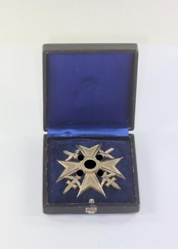 Spanienkreuz in Silber mit Schwertern, 835,Wilhelm Deumer, im Etui - Militaria-Berlin
