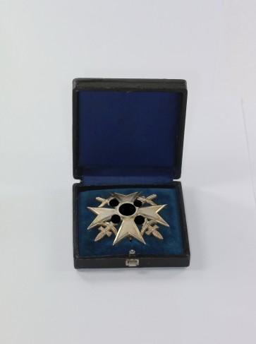 Spanienkreuz in Silber mit Schwertern, Hst. CEJ 900, im Etui - Militaria-Berlin