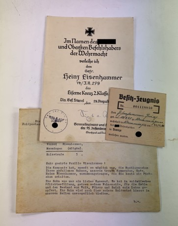 Urkunde Eisernes Kreuz 2. Klasse, Übersendungsschreiben und Besitzzeugnis SA Wehrabzeichen - Militaria-Berlin