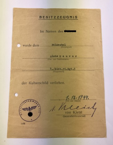 Besitzzeugnis Kubanschild, Eisenbahn Pionier - Militaria-Berlin