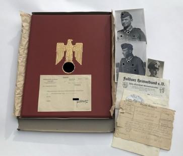 Urkunde mit Mappe, Umkarton und Übersendungsschreiben zum Ritterkreuz des Eisernen Kreuzes, Paul Gollbach - Militaria-Berlin