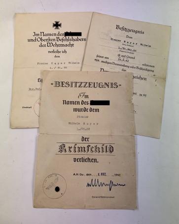 Urkunden Gruppe Krimschild - Militaria-Berlin