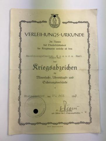 Verleihungs-Urkunde Minsucher - Militaria-Berlin