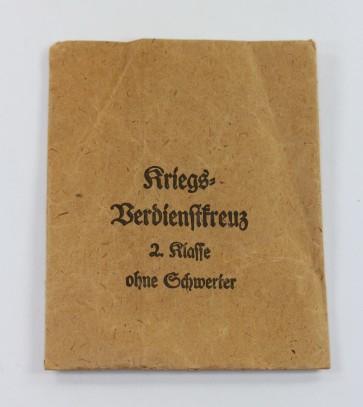 Verleihungstüte Kriegsverdienstkreuz 2  Klasse, Friedrich Orth